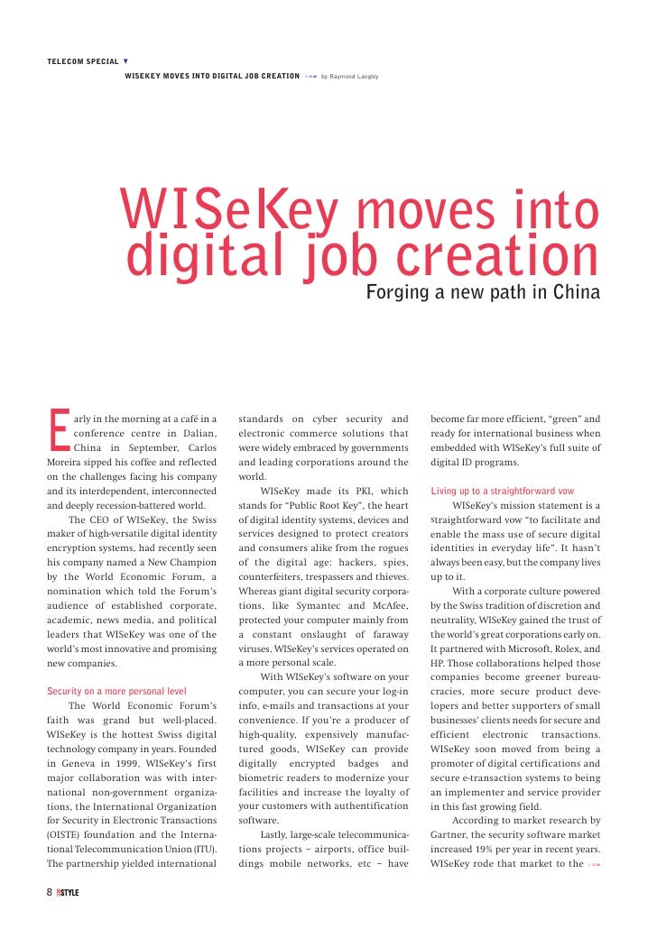 TELECOM SPECIAL M                   WISEKEY MOVES INTO DIGITAL JOB CREATION »»» by Raymond Langley                     WIS...