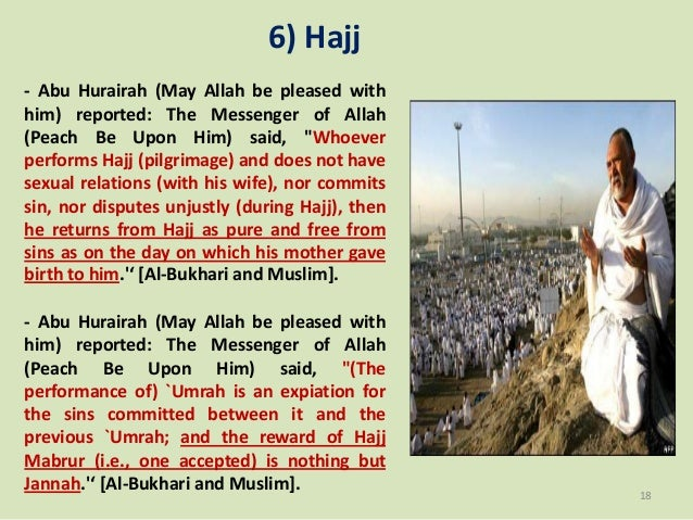 """6) Hajj - Abu Hurairah (May Allah be pleased with him) reported: The Messenger of Allah (Peach Be Upon Him) said, """"Whoever..."""