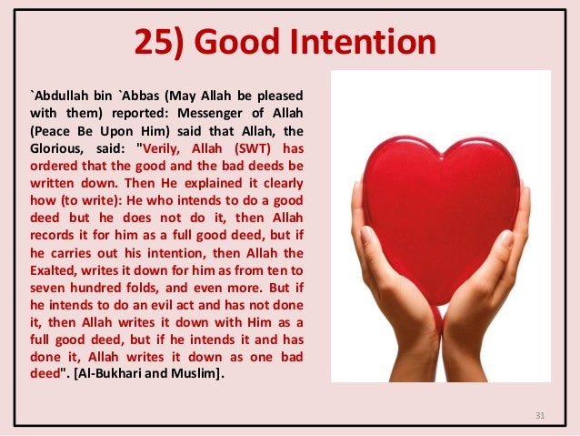 25) Good Intention `Abdullah bin `Abbas (May Allah be pleased with them) reported: Messenger of Allah (Peace Be Upon Him) ...