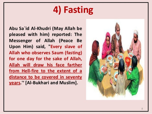 4) Fasting Abu Sa`id Al-Khudri (May Allah be pleased with him) reported: The Messenger of Allah (Peace Be Upon Him) said, ...