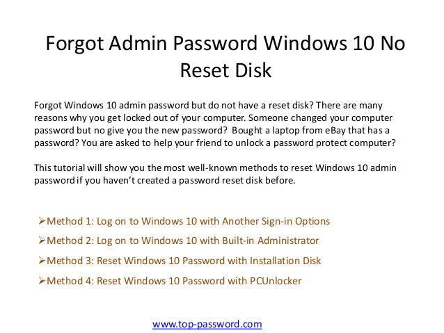 administrative password reset windows 10