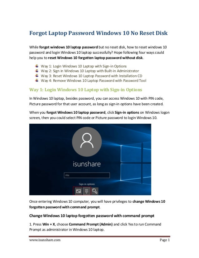what to do when you forgot your windows 10 password