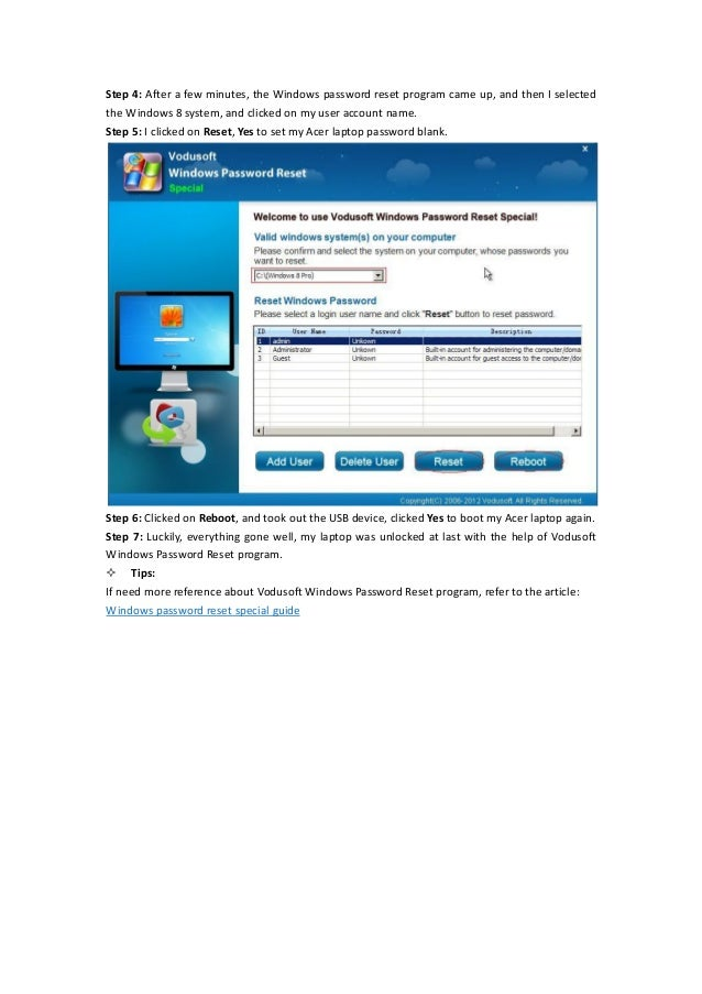 laptop password reset software for windows 8