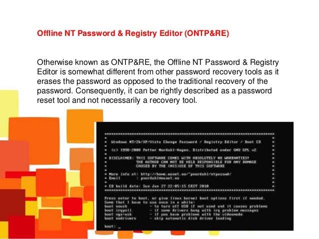 offline nt password registry editor usb boot error
