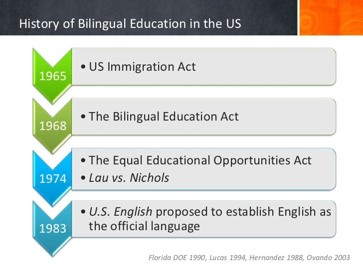 history of bilingual education Currently, there are numerous bilingual programs operating here in hawai'i and  across the nation there is a long history of bilingual education for the purposes.