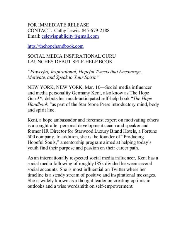 FOR IMMEDIATE RELEASE CONTACT: Cathy Lewis, 845-679-2188 Email: cslewispublicity@gmail.com http://thehopehandbook.com SOCI...