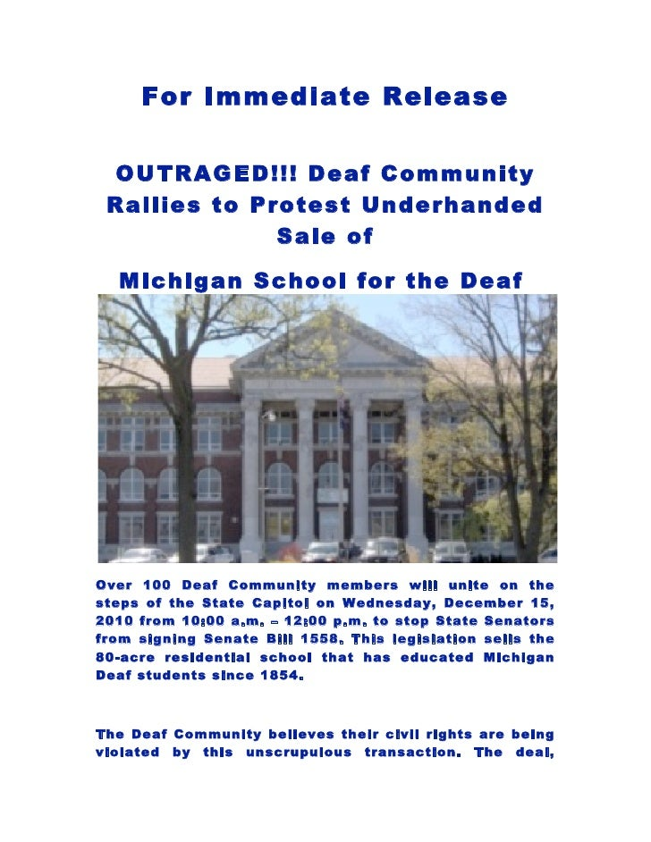 For Immediate Release OUTRAGED!!! Deaf Community Rallies to Protest Underhanded              Sale of  Michigan School for ...
