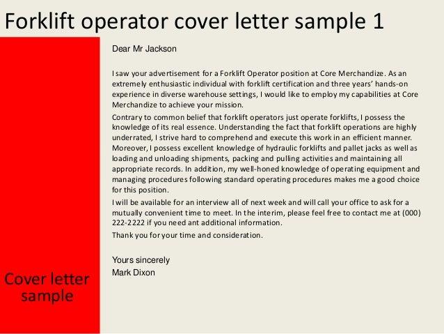 Delightful Forklift Driver Cover Letter