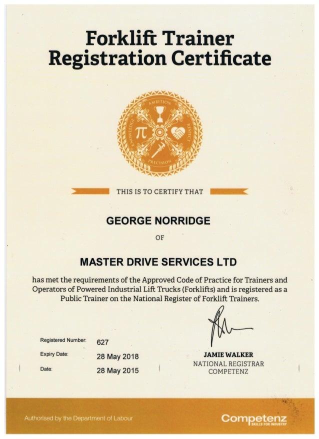 Forklift Registration