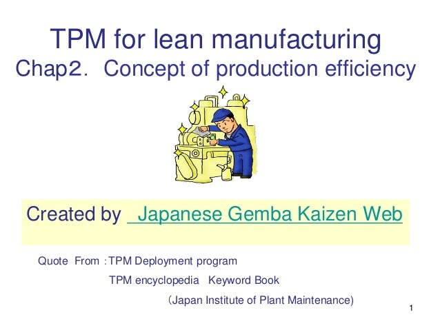 1 TPM for lean manufacturing Chap2. Concept of production efficiency Quote From :TPM Deployment program TPM encyclopedia K...