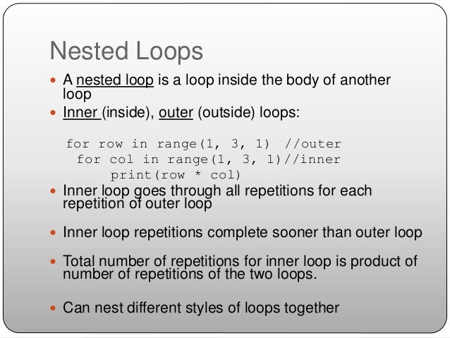 For Loops and Nesting in Python