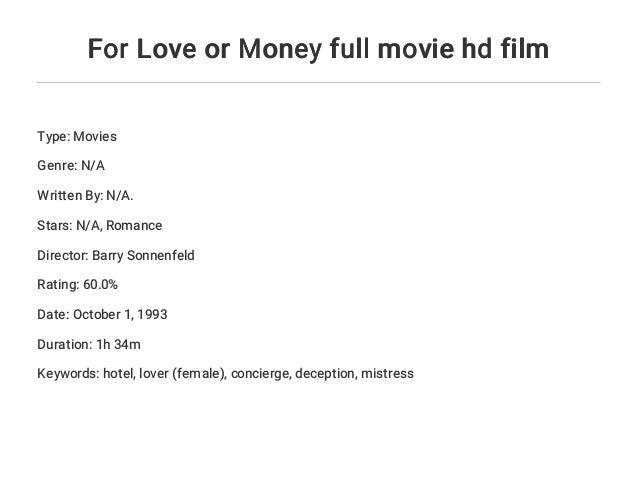 For Love Or Money Full Movie Hd Film