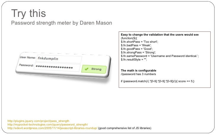 Try this Password strength meter