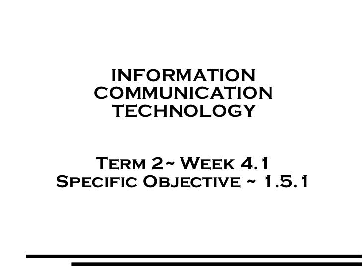 INFORMATION COMMUNICATION TECHNOLOGY Term 2~ Week 4.1 Specific Objective ~ 1.5.1