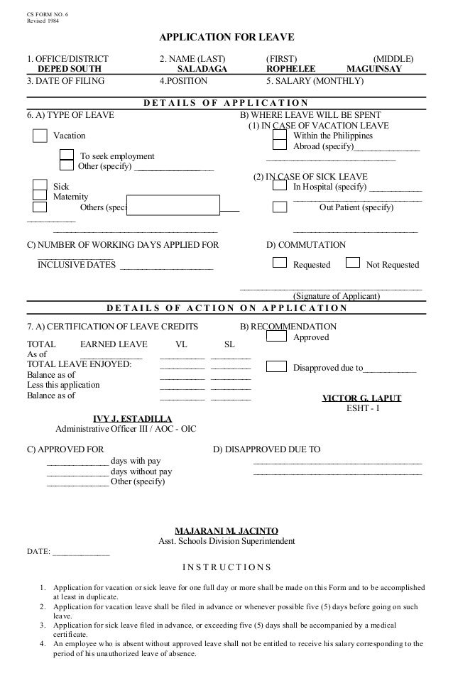 CS FORM NO. 6 Revised 1984 APPLICATION FOR LEAVE 1.  Application For Leave Form