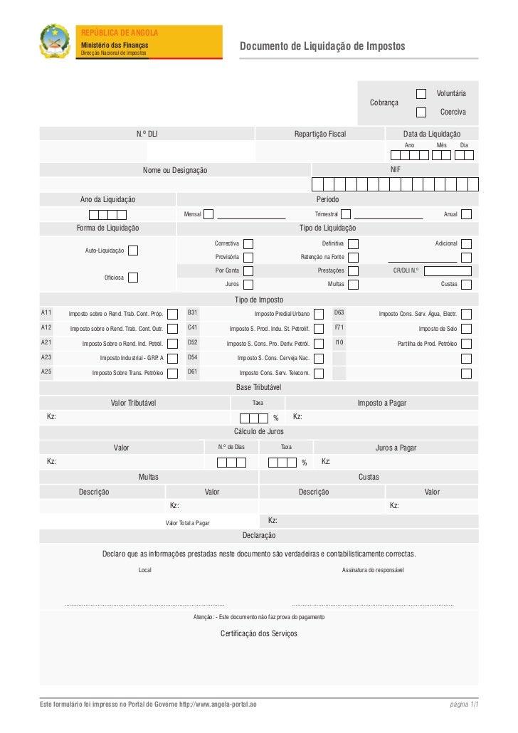 d4d149c84 Form documento de liquidacao de impostos. REPÚBLICA DE ANGOLA Ministério  das Finanças Direcção ...