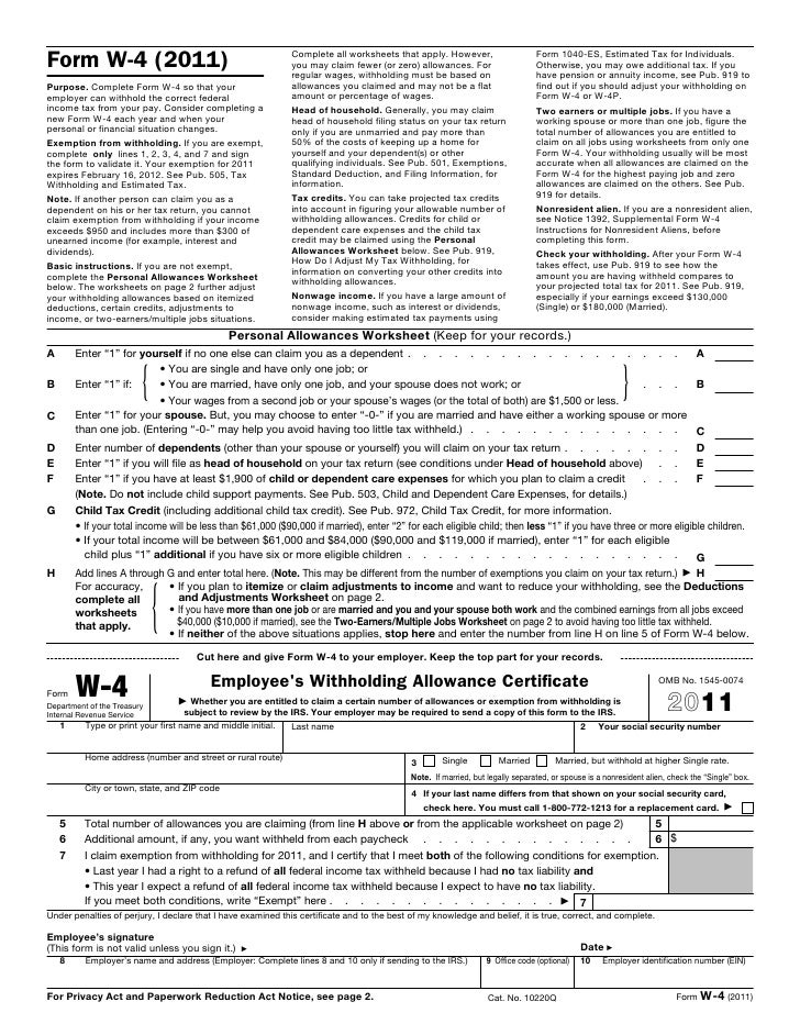 Form w4 – W4 Deductions and Adjustments Worksheet
