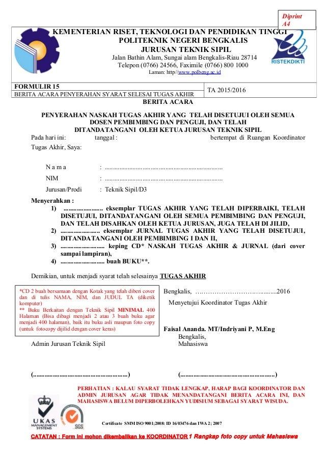 Form 15 Berita Acara Penyerahan Tugas Akhir