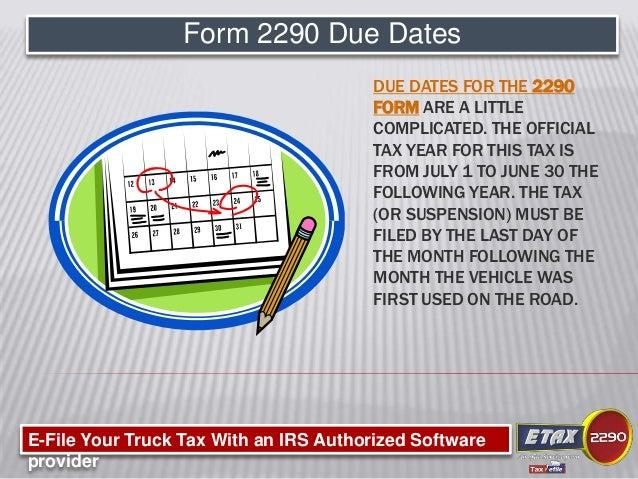 Form 2290 Due Dates Divingexperience