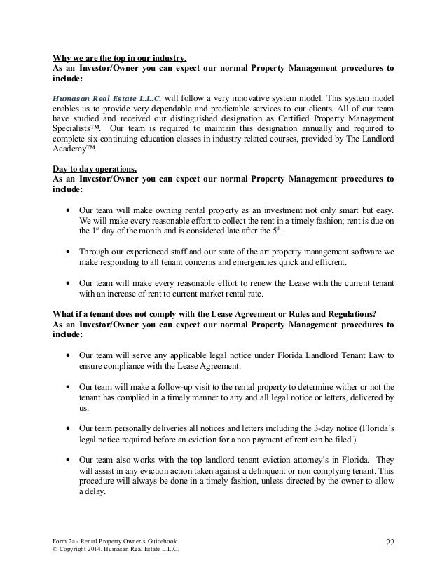 Humasan real estate rental property owner guidebook form 2a rental property owners guidebook copyright 2014 humasan real estate llc 21 22 altavistaventures Images