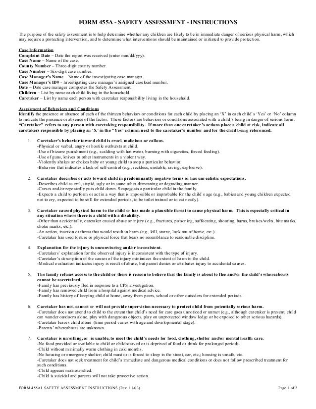 FORM 455A   SAFETY ASSESSMENT   INSTRUCTIONS The Purpose Of The Safety  Assessment Is To Help ...