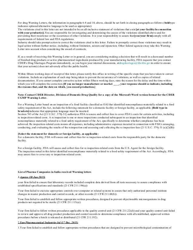 Form483 warning letter issued to pharmaceutical companies by bindu ks 6 for drug warning letters altavistaventures Images