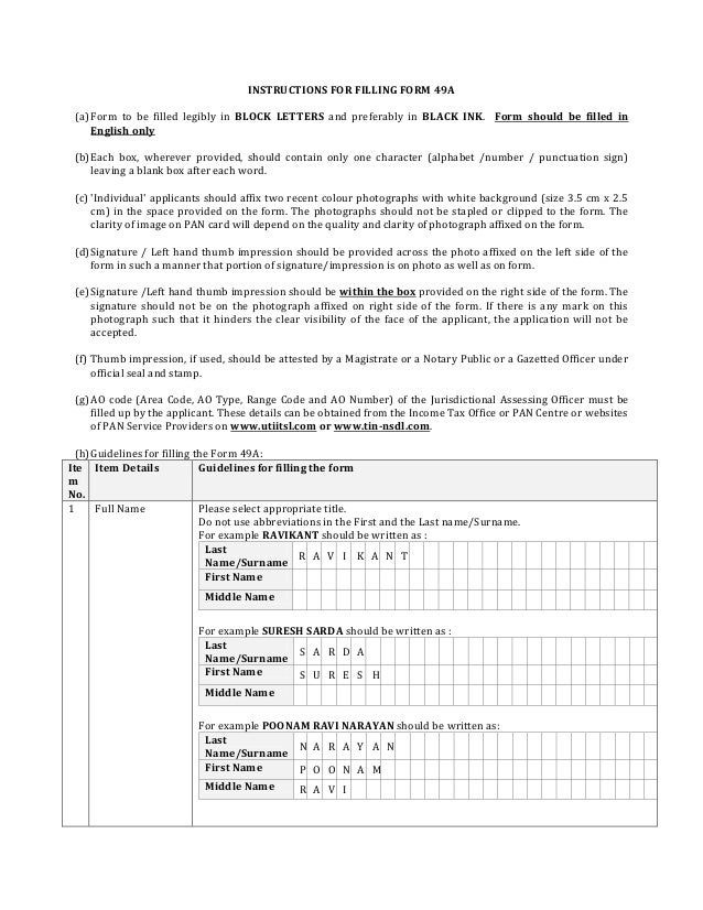 Form49a Application For Allotment Of Permanent Account