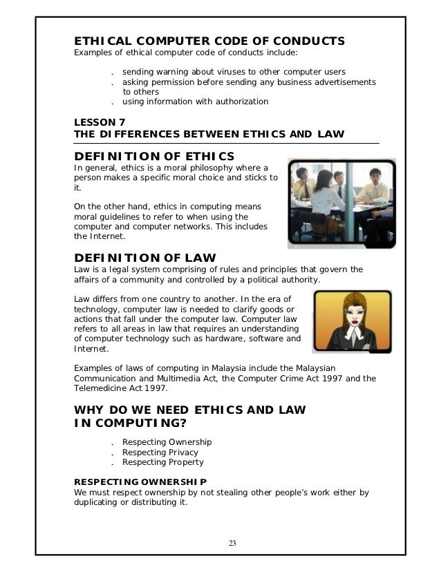 codes of conducts computer ethics A well-written code of conduct clarifies an organization's mission, values and principles,  risk mitigation: organizations with codes of ethics,.