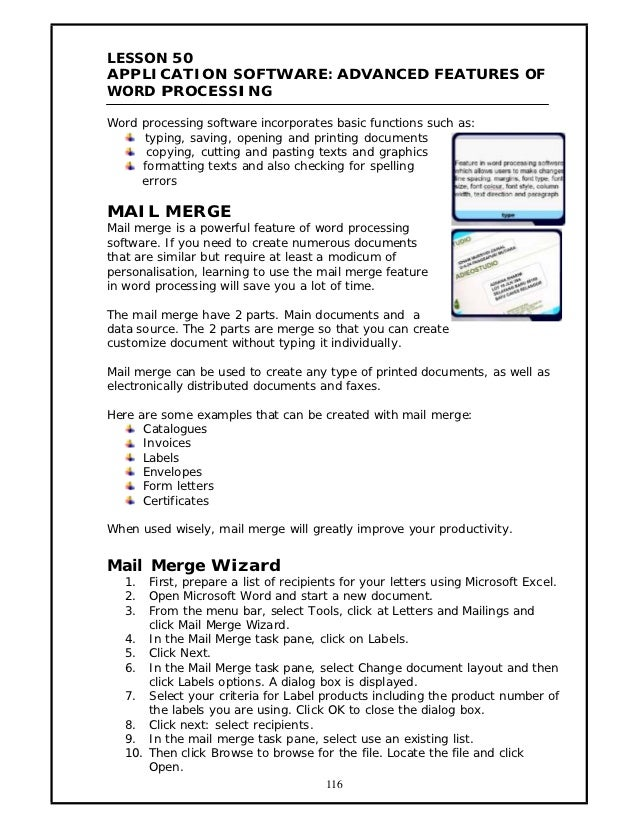 LESSON 50APPLICATION SOFTWARE: ADVANCED FEATURES OFWORD PROCESSINGWord processing software incorporates basic functions su...