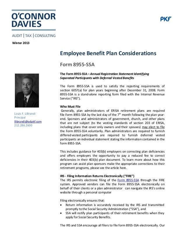 IRS Form 8955 - Annual Registration Statement