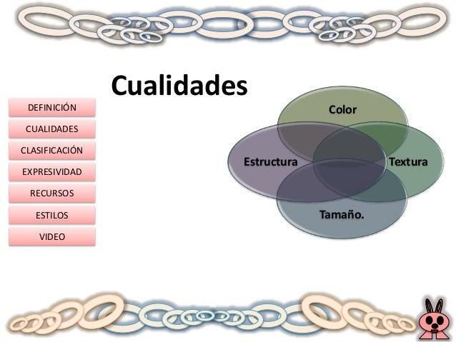 DEFINICIÓN CUALIDADES CLASIFICACIÓN EXPRESIVIDAD RECURSOS ESTILOS VIDEO Cualidades Color Textura Tamaño. Estructura
