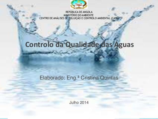 REPÚBLICA DE ANGOLA  MINISTÉRIO DO AMBIENTE  CENTRO DE ANÁLISES DE POLUIÇÃO E CONTROLO AMBIENTAL (CAPA)  Controlo da Quali...