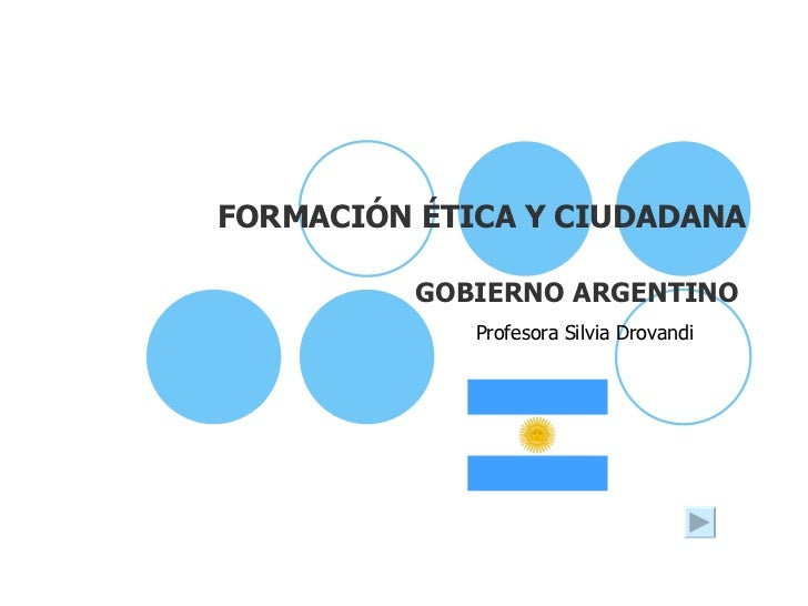 FORMACIÓN ÉTICA Y CIUDADANA GOBIERNO ARGENTINO Profesora Silvia Drovandi