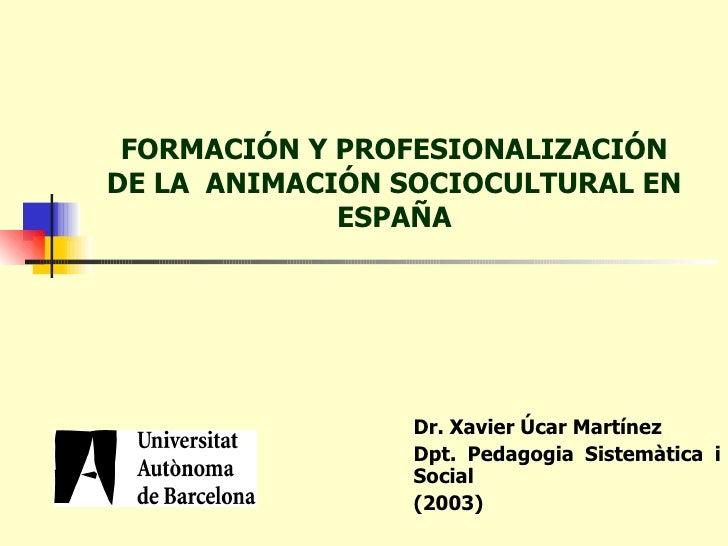 FORMACIÓN Y PROFESIONALIZACIÓN DE LA  ANIMACIÓN SOCIOCULTURAL EN ESPAÑA Dr. Xavier Úcar Martínez Dpt. Pedagogia Sistemàtic...