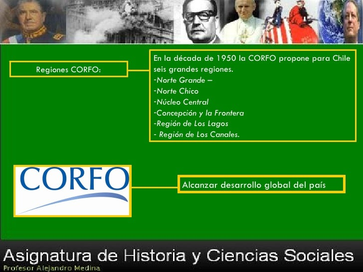 En la década de 1950 la CORFO propone para ChileRegiones CORFO:   seis grandes regiones.                  -Norte Grande – ...