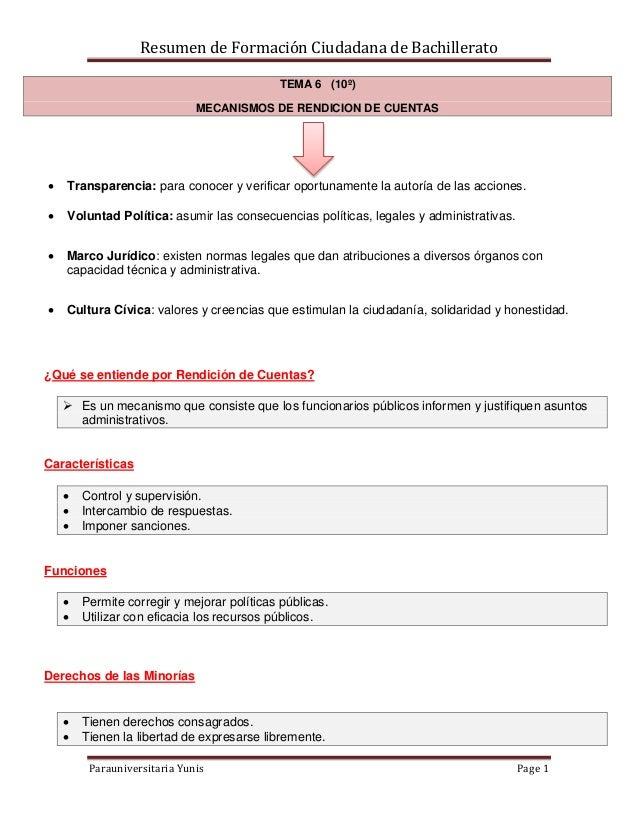 Resumen de Formación Ciudadana de Bachillerato Parauniversitaria Yunis Page 1 TEMA 6 (10º) MECANISMOS DE RENDICION DE CUEN...
