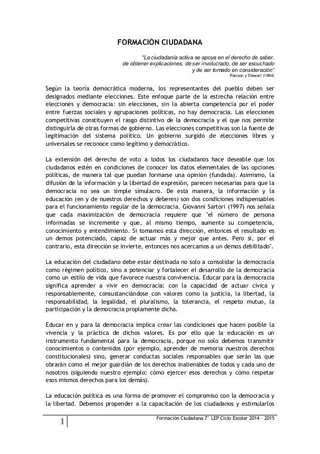 """1 Formación Ciudadana 7° LEP Ciclo Escolar 2014 – 2015  FORMACIÓN CIUDADANA  """"La ciudadanía activa se apoya en el derecho ..."""