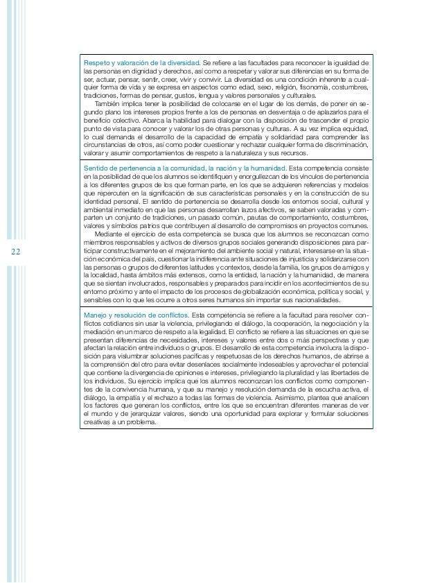 24 La vinculación de los ejes formativos con las competencias cívicas y éticas ase- gura el equilibrio y gradación de los ...