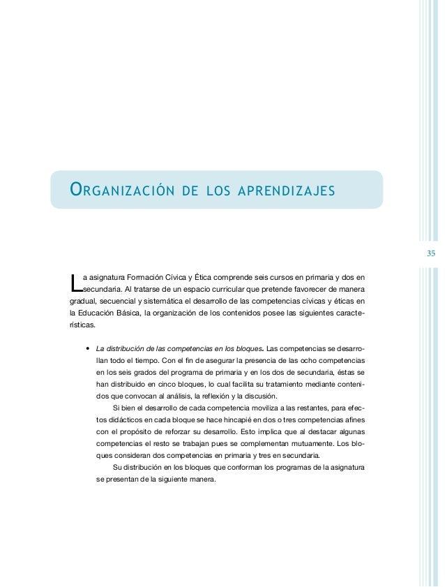 37 • El desarrollo de los contenidos. En la organización de los programas de la asigna- tura los contenidos se ordenan po...