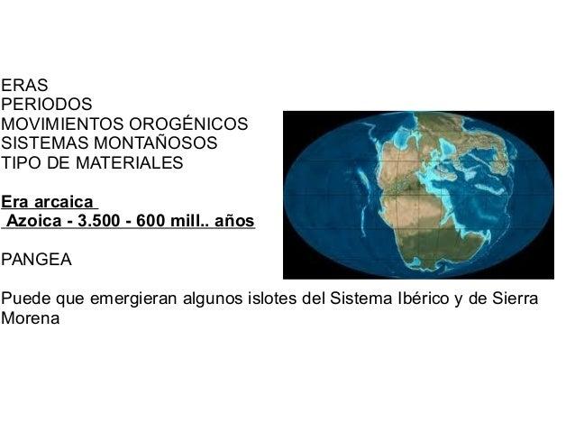 ERAS PERIODOS MOVIMIENTOS OROGÉNICOS SISTEMAS MONTAÑOSOS TIPO DE MATERIALES Era arcaica Azoica - 3.500 - 600 mill.. años P...