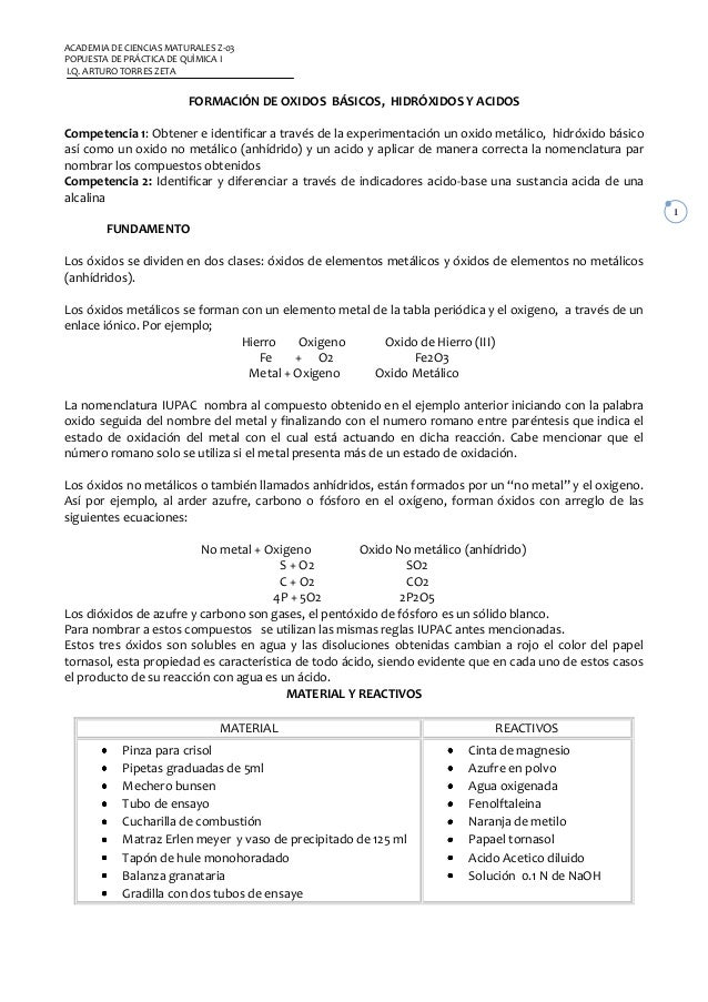 ACADEMIA DE CIENCIAS MATURALES Z-03POPUESTA DE PRÁCTICA DE QUÌMICA II.Q. ARTURO TORRES ZETA                         FORMAC...
