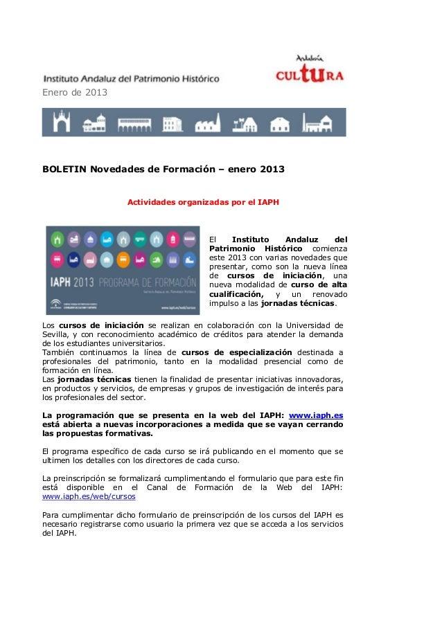 Enero de 2013BOLETIN Novedades de Formación – enero 2013                      Actividades organizadas por el IAPH         ...