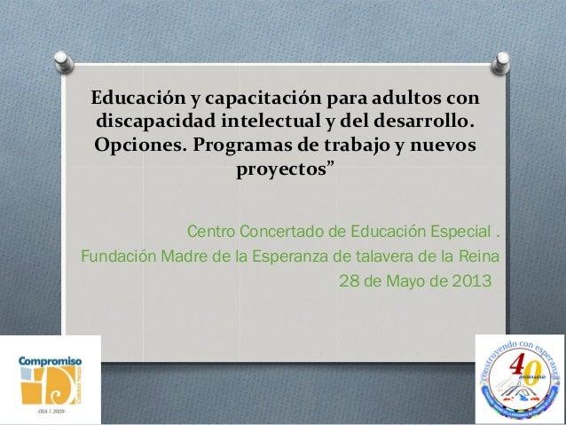 Educación y capacitación para adultos con discapacidad intelectual y del desarrollo. Opciones. Programas de trabajo y nuev...