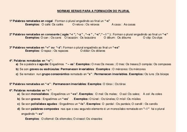 """NORMAS XERAIS PARA A FORMACIÓN DO PLURAL1º Palabras rematadas en vogal : Forman o plural engadindo ao final un """"-s""""       ..."""
