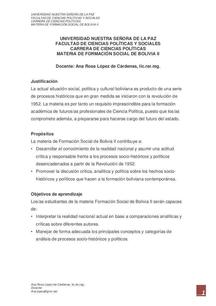 UNIVERSIDAD NUESTRA SEÑORA DE LA PAZFACULTAD DE CIENCIAS POLÍTICAS Y SOCIALESCARRERA DE CIENCIAS POLÍTICASMATERIA DE FORMA...