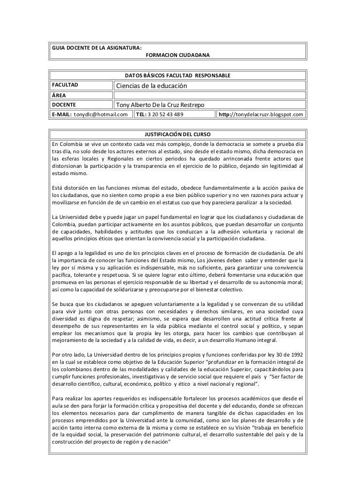 GUIA DOCENTE DE LA ASIGNATURA:FORMACION CIUDADANA <br />DATOS BÁSICOS FACULTAD  RESPONSABLE FACULTADCiencias de la educaci...