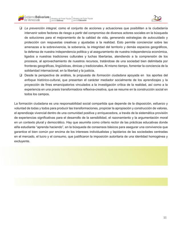11 Gobierno de Venezuela Bolivariano Ministerio del Poder Popular parala Educación Ministerio del Poder Popular parala Def...