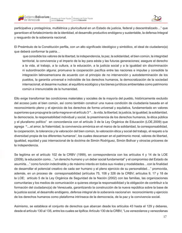 17 Gobierno de Venezuela Bolivariano Ministerio del Poder Popular parala Educación Ministerio del Poder Popular parala Def...