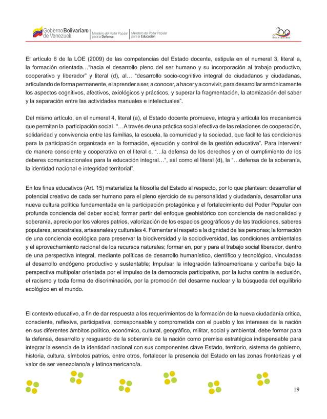 19 Gobierno de Venezuela Bolivariano Ministerio del Poder Popular parala Educación Ministerio del Poder Popular parala Def...
