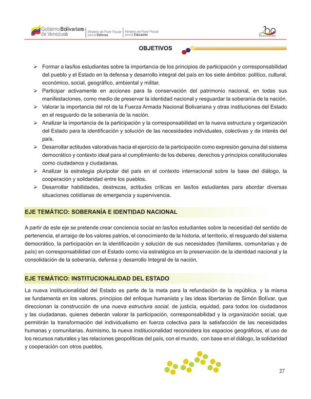 27 Gobierno de Venezuela Bolivariano Ministerio del Poder Popular parala Educación Ministerio del Poder Popular parala Def...
